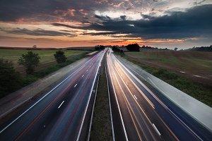Twilight Sky over Rural Motorway