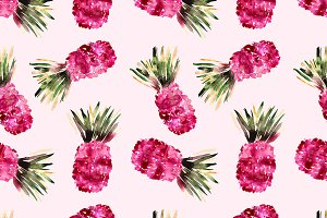 Pink pineapples watercolor pattern