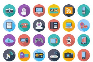 Devices icons, whit long shadow.