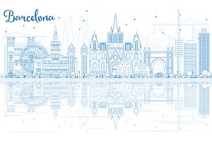 Outline Barcelona Skyline