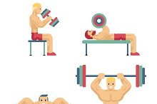 Bodybuilding and Weightlifting Icons