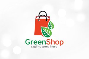 Green Shop Logo Template Design