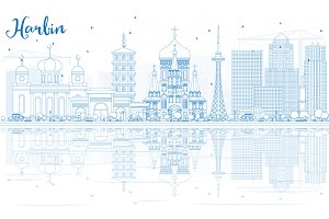 Outline Harbin Skyline