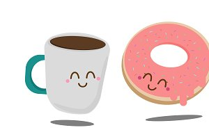 Coffee and Donut vector illustration