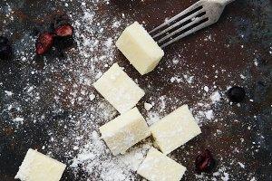 Square pieces of gourmet chocolate