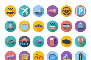 Transportation icon set with long sh