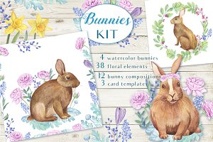 -30% OFF - Watercolor Bunnies KIT