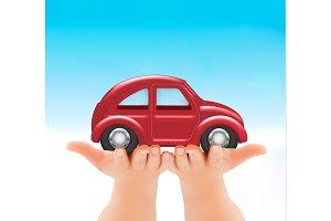 Red car in hands. Vector.