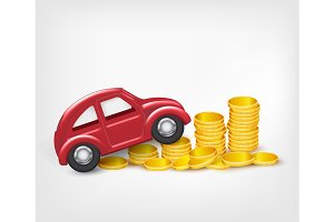 Red model car with gold coins