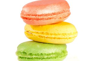 Three macaroons isolated on white background closeup