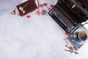 Workspace with vintage typewriter