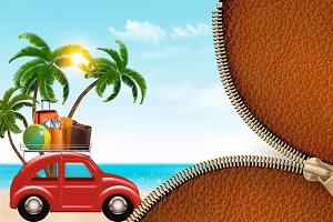 Beach background with a tourist car