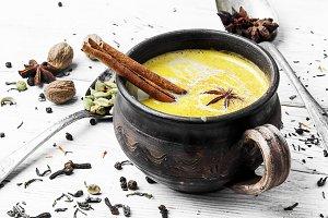 Masala tea hot Indian with milk