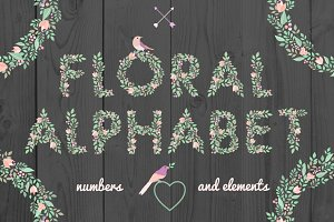 Floral alphabet and elements