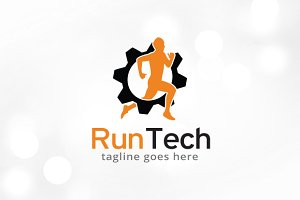 Run Tech Logo Template Design