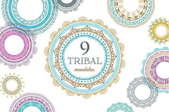 9 Tribal Mandalas, Frames, Patterns - Graphics