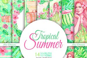 Tropical Summer Digital Paper