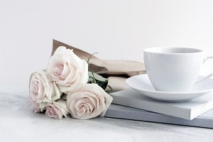 Styled Stock Image, Tea and Roses
