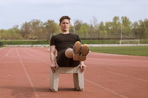 one young man, sport athlete outdoor