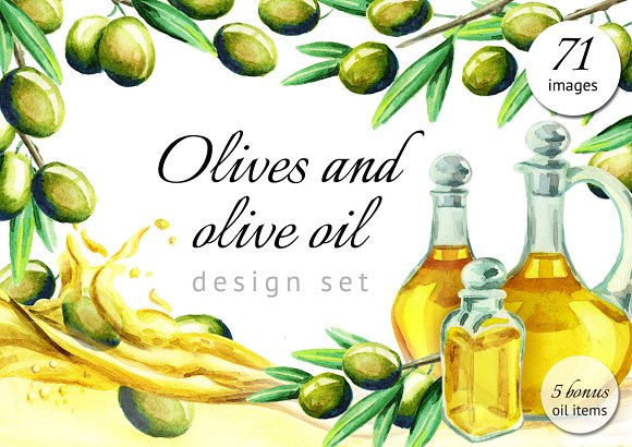 Watercolor Olives And Olive Oil Set