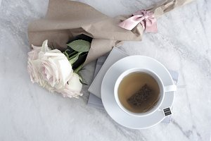 Styled Image, Roses and Green Tea