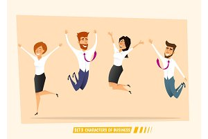 Business people jumping and celebrating victory