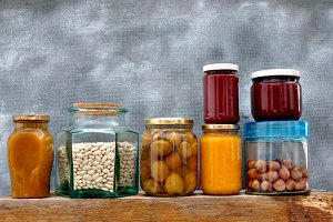 Jars with jam and nuts