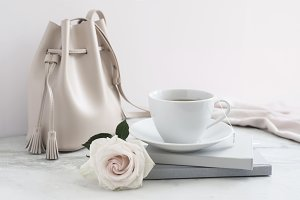 Styled Stock Photograph, Tea & Tote