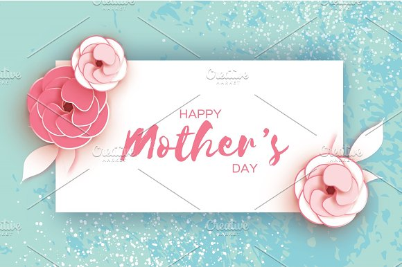 Happy Mother's Day Greeting Card Pink Pastel Paper Cut Flower Rectangle Frame Space For Text