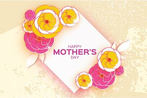 Happy Mother's Day Greeting card. Pink Yellow cut Flower. Rhombus Frame. Space for text.