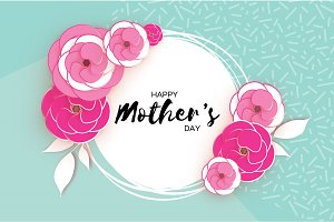 Happy Mother's Day Greeting card. Pink Paper cut Flower. Circle Frame. Space for text.