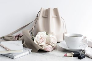 Styled Stock Image, Tote & Roses