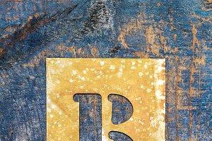 Metallic typography: letter B