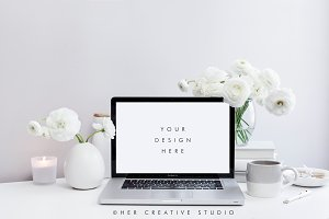 Styled Desktop, White & Grey