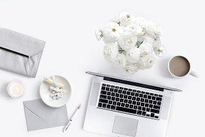 Styled Flatlay, Grey & White