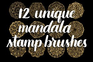 12 mandala stamp Procreate brushes