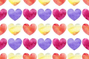 Watercolor heart seamless pattern