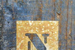 Metallic typography: letter N