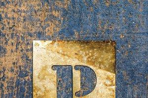Metallic typography: letter P