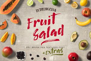 Fruit Salad Brush Font + Extras