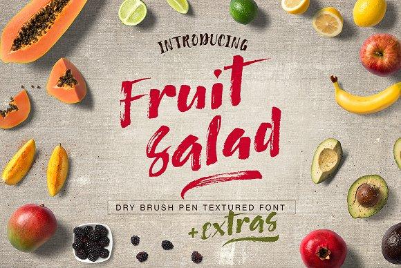 Fruit Salad Brush Font Extras