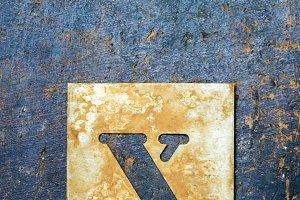 Metallic typography: letter X