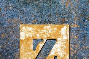 Metallic typography: letter Z