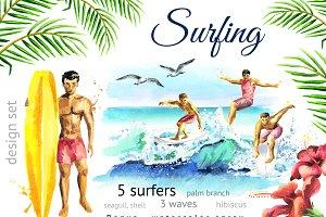 WATERCOLOR summer surfing set
