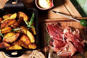 Potato Wedges and Jamon