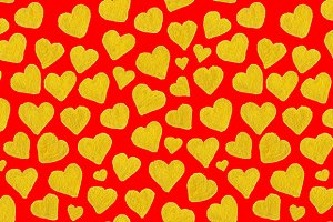 Golden heart love seamless pattern