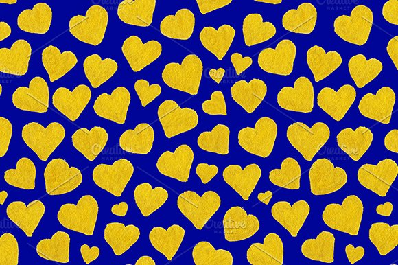 Golden Heart Love Seamless Pattern