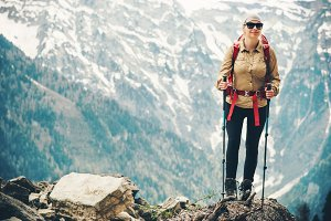 Woman traveling hiking
