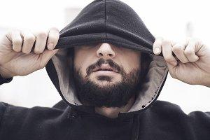 Closeup bearded man portrait
