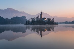 Lake Bled on a cold winter morning
